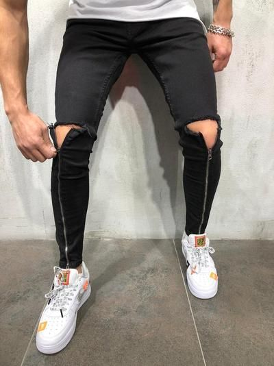 ac5475c1 Men Skinny Fit Ripped Knee Zipper Shins II Short Ankle Jeans - Pitch Black  3975 | Street styles | Streetwear jeans, Mens fashion:__cat__, Jeans