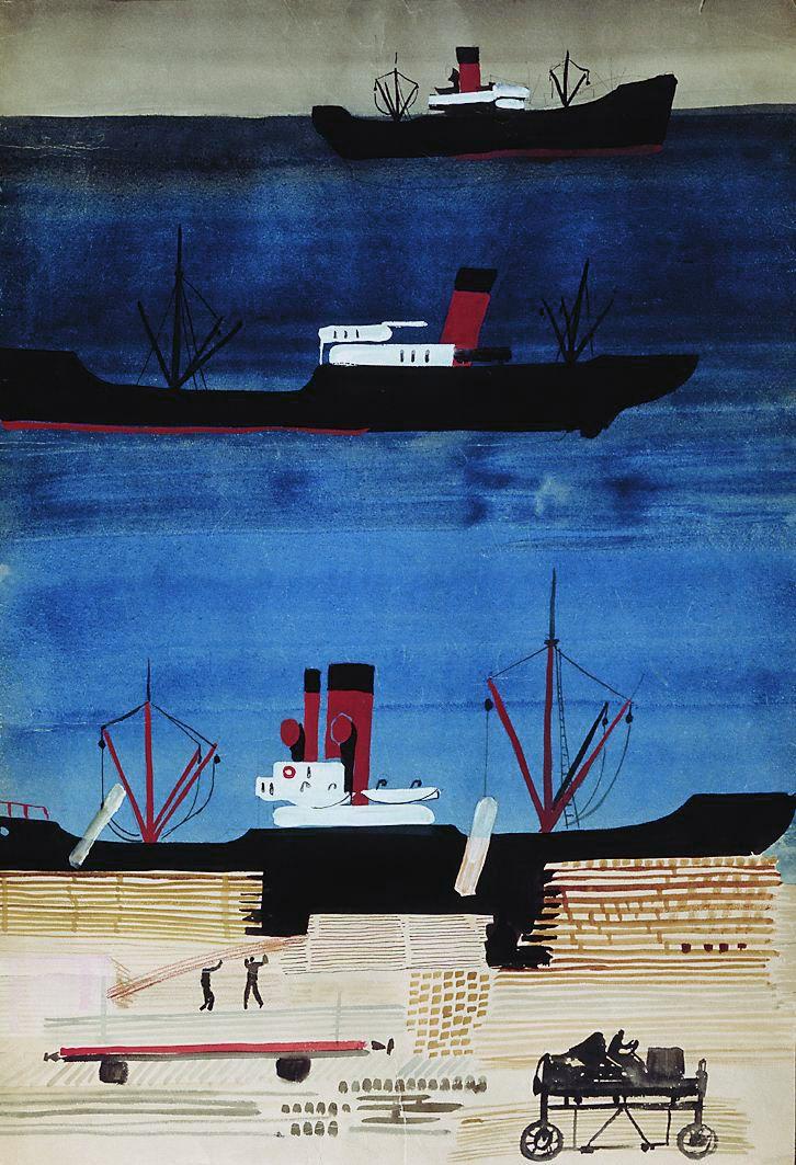 Дейнека. Порт с кораблями. 1929-1930