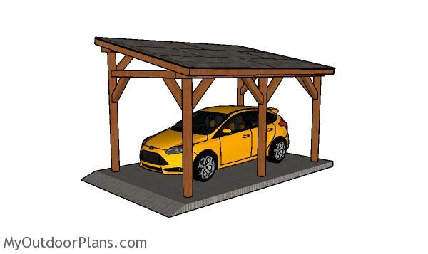10x16 Lean To Carport Plans Myoutdoorplans Free Woodworking Plans And Projects Diy Shed Wooden Playhouse In 2020 Carport Plans Lean To Carport Building A Carport