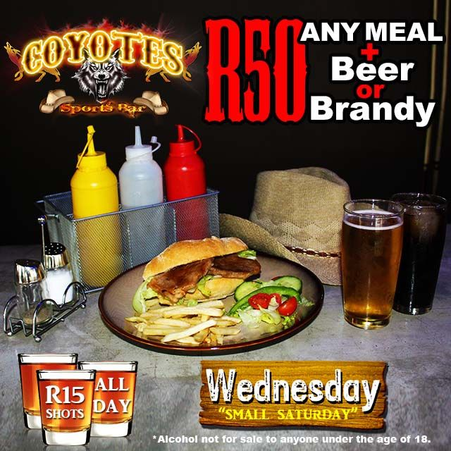 Happy #Humpday! Get ANY meal & #localbeer for R50 & R15 #shooters all day! #wednesday #KZNsouthcoast