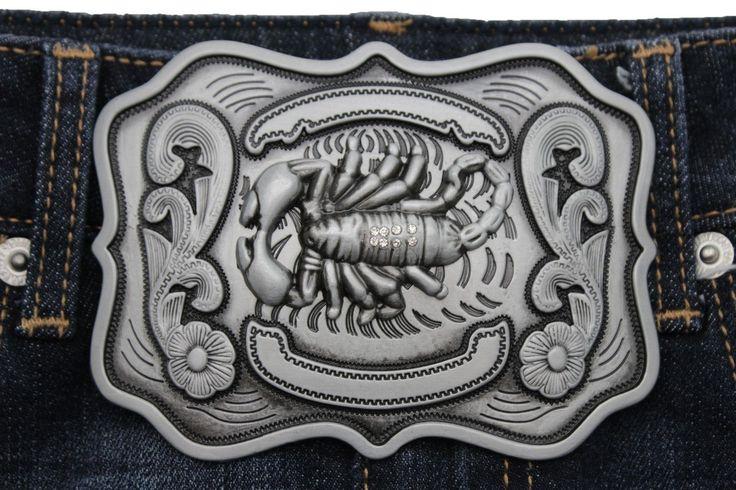 Silver Texas Mexico Desert Scorpion Belt Buckle New Men's Cowboy Western Fashion Accessories
