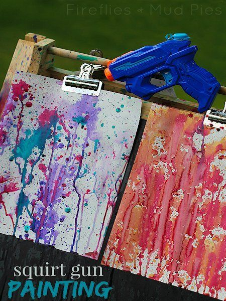 Squirt Gun Painting - looks fun, but is probably a pretty messy project.