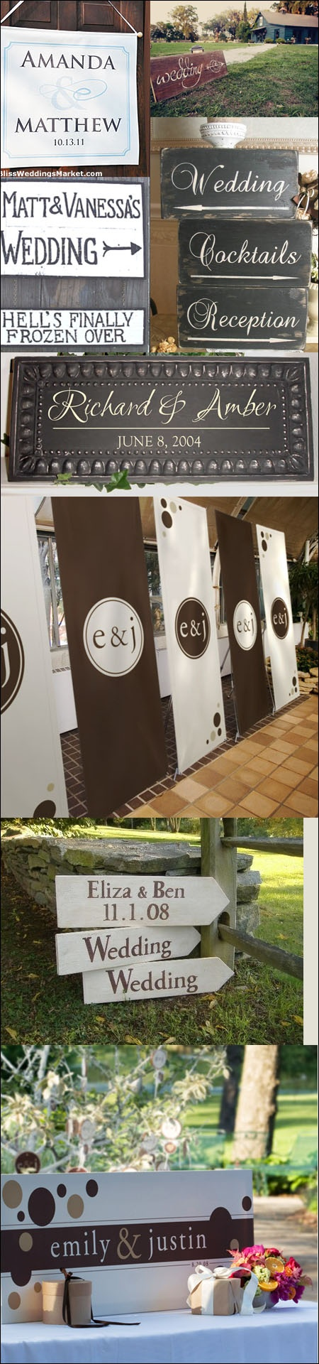 Wedding signs. these you could do with chalkboard paint! Its cheap and the woods pieces you could get for cheap too : )
