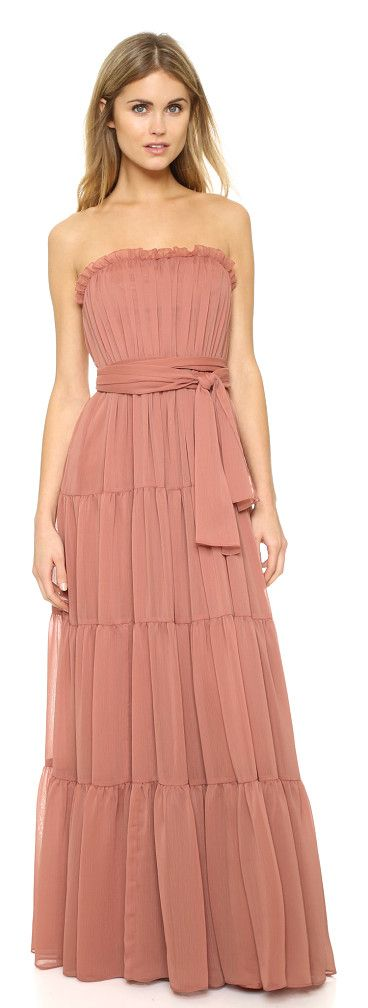 Strapless crinkle chiffon gown by Jill Jill Stuart. Ruched tiers lend airy volume to this strapless Jill Jill Stuart maxi dress. Boning and nonslip r...