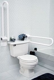 handicapped grab bars bathroom | These Hinged Fold Up Handicap Grab Bars move out of the way when not in use #disabilityliving.. #seniorsliving