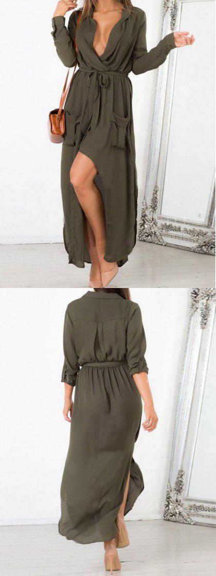 Olive Green Bow Tie Side Split Pocket Wrap Ruched Dress Pinterest @Sagine_1992 Sagine☀️