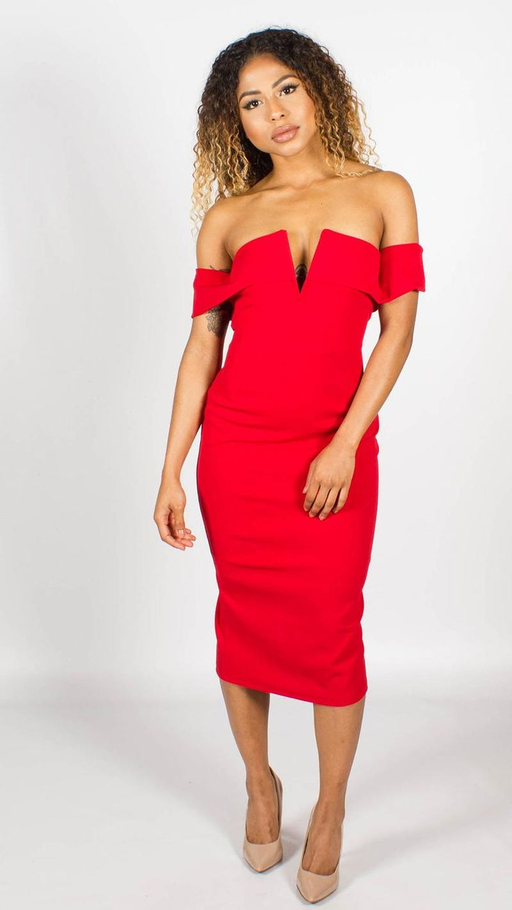 Maya V Front Bardot Bodycon Midi Dress