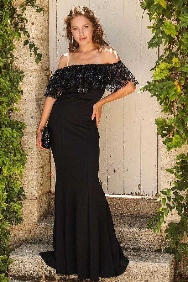 فستان سهرة أسود موديل سمكة بدون أكتاف Evening Dresses Sale Long Black Evening Dress Green Evening Dress
