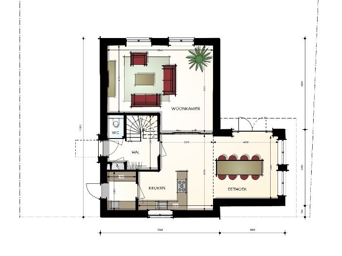 Woning met plat dak in jaren '30 stijl - begane grond