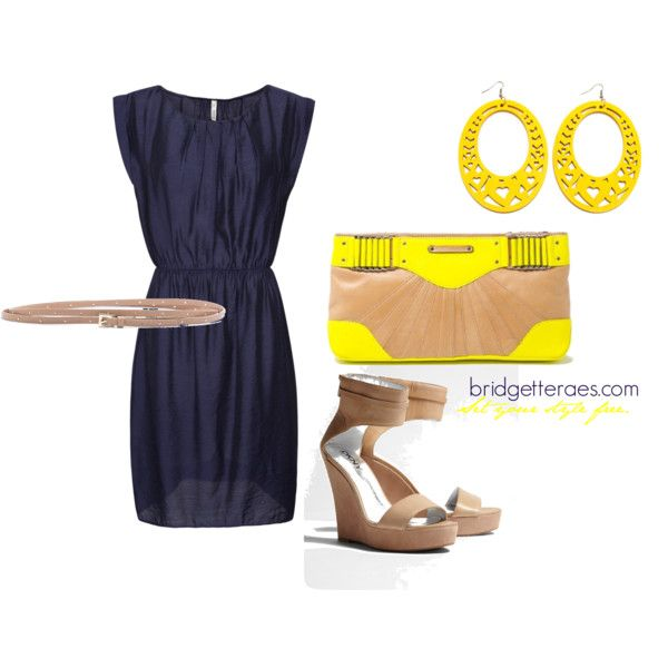 Navy Dress with yellow accents