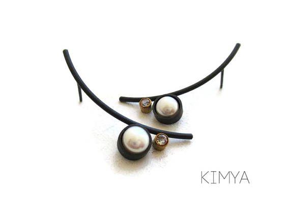 Pendientes con Perlas y Topacio Pendientes Plata Oxidada y