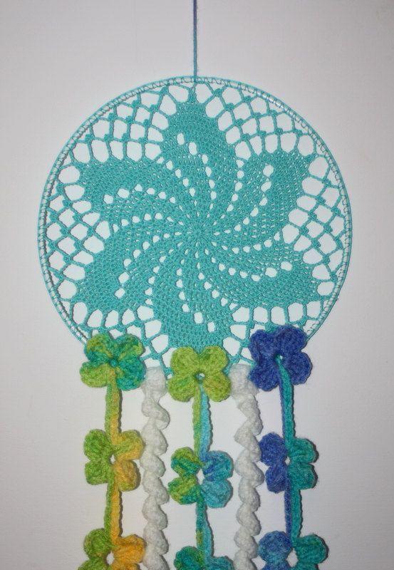 Crochet floral baby mobile crochet nursery mobile by RinaForKids #dreamcatcher, #babydreamcatcher, #crochetwalldecor, #crochetdreamcatcher, #doilydreamcatcher