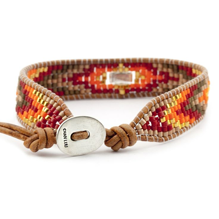 Chan Luu - Red Mix Single Wrap Bracelet on Natural Brown Leather, $140.00 (http://www.chanluu.com/bracelets/red-mix-single-wrap-bracelet-on-natural-brown-leather/)