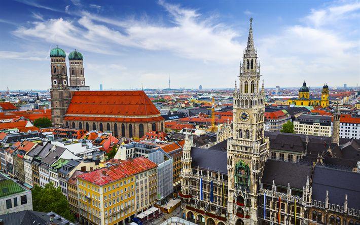 Download wallpapers Munich, Marienplatz, central square, 4k, Germany, tourist attractions, Bavaria, Munich landmarks