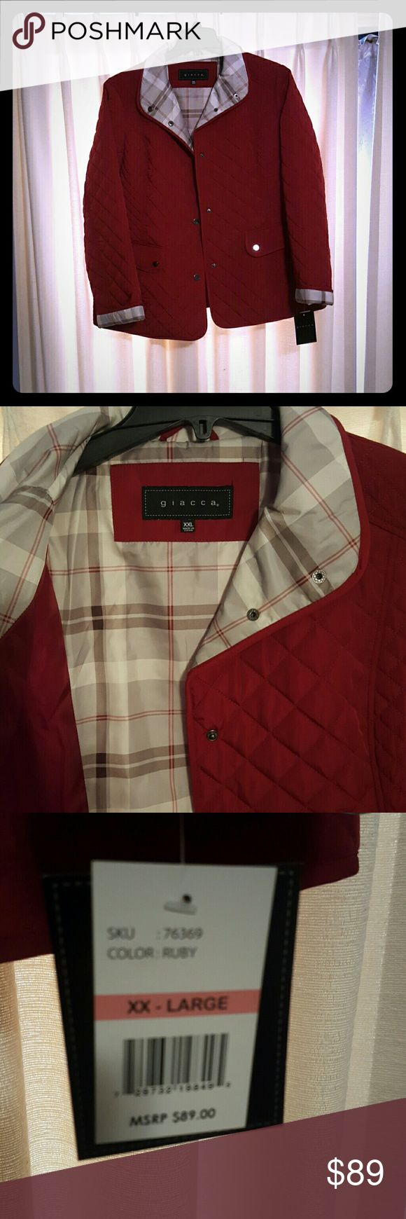 Giacca Spring coat New with tags.  Too big for me now.  Beautiful ruby red with plaid yoke and accents.  Quilted. giacca Jackets & Coats Utility Jackets