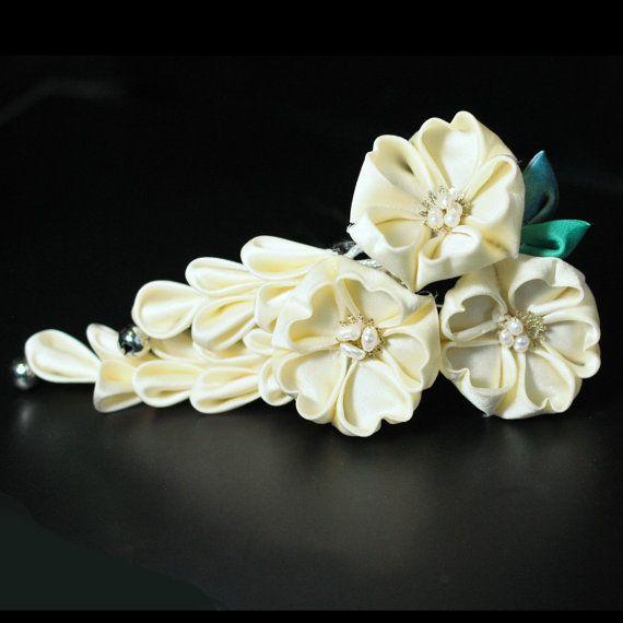Ivory Sakura Hair ornament. Tsumami Kanzashi. Silk by hanatsukuri, $30.99
