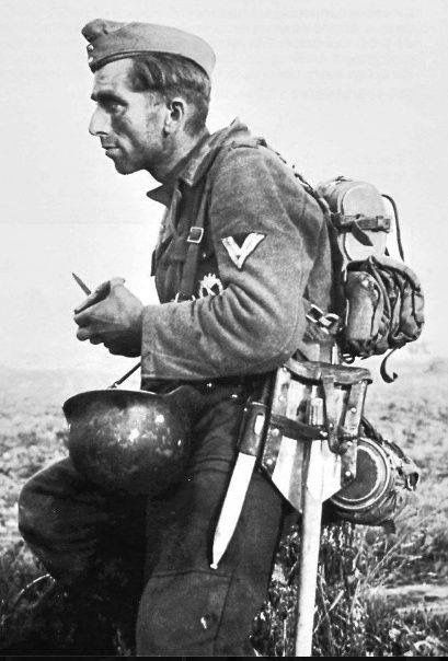 Exhausted soldier of Wehrmacht, eastern front, summer 1942