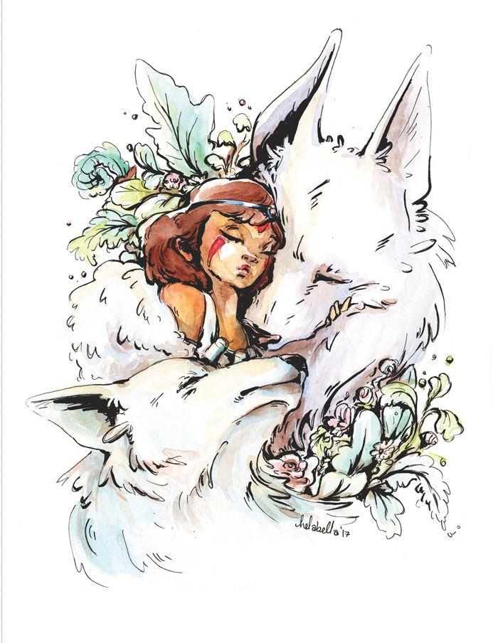 Princess Mononoke Print Art Dessin Miyazaki Et Totoro
