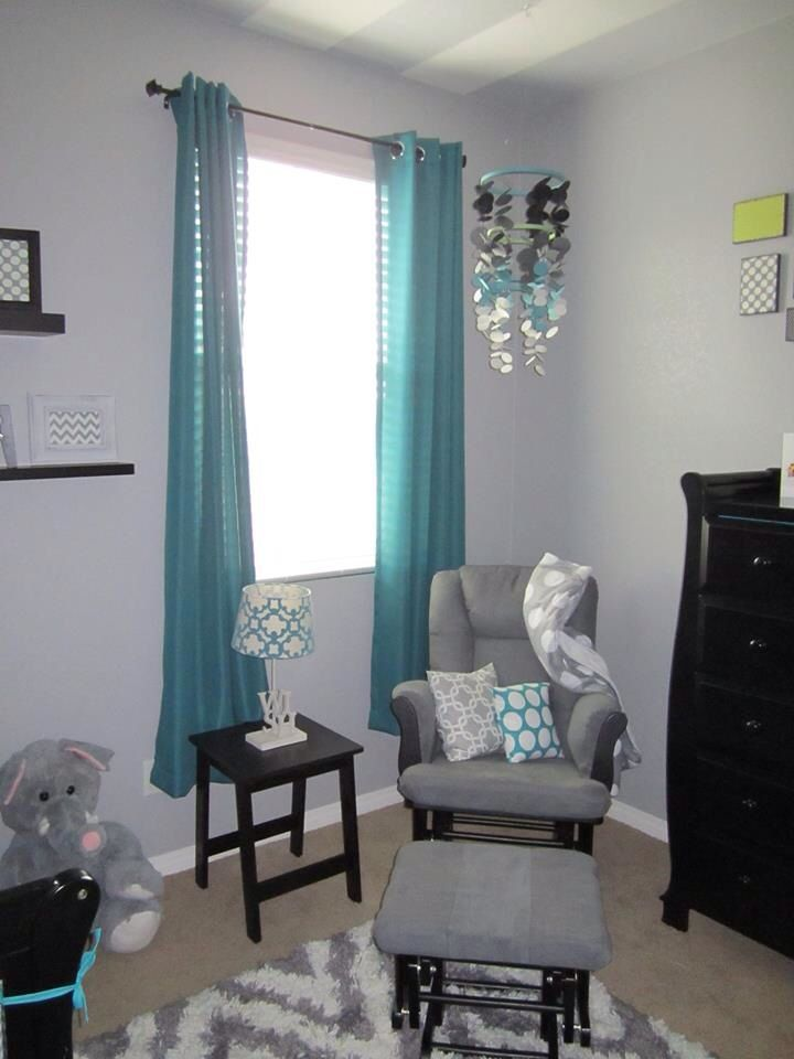 Grey Chevron And Teal Or Turquoise Boysu0027 Nursery Or Room With Black  Furniture. Paper Circle Mobile And Upholstered Pillows.