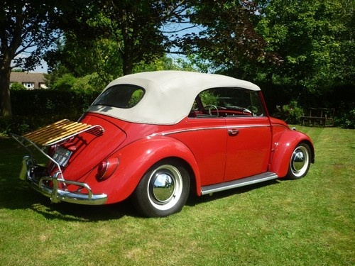 1965 California Import -   This is a chance to own an original, rare 1965 VW Karmann Beetle Convertible in beautiful condition.  It is a rust free California import, which was once the cover car for Airhead Parts in the US, and has matching numbers body and pan.