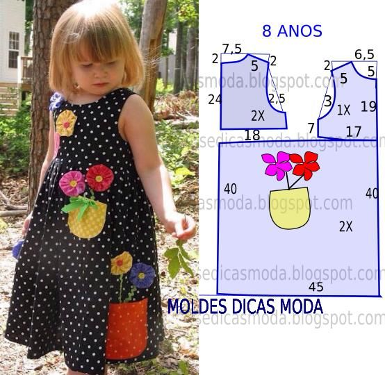O molde do vestido com flores encontra-se no tamanho 8 anos. A ilustração do molde de vestido não tem valor de costura.: