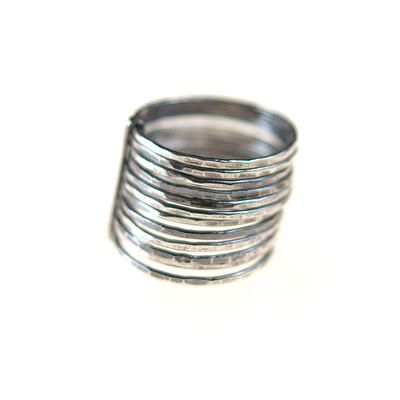 Stacked Ring - Zuzana Korbelarova hand forged and fabricated silver jewelry, represented by Human Arts Gallery in Ojai, CA.