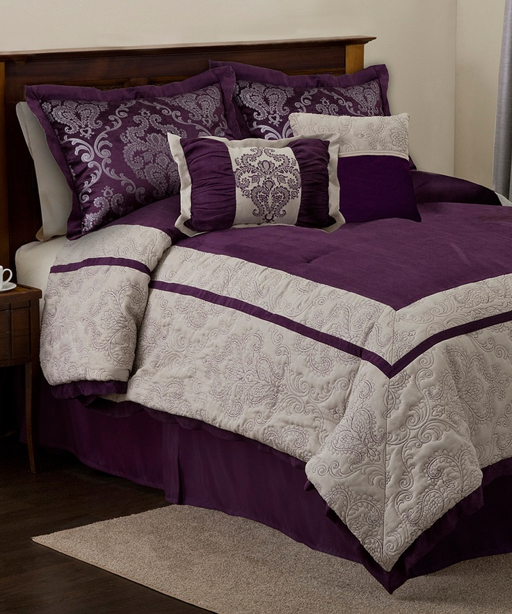 Plum Amp Gray Delia Comforter Set Zulily Through The 14th
