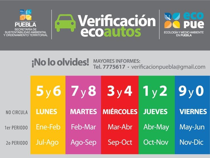 Calendario de Verificación EcoAutos de la SSAOT y Ecopue
