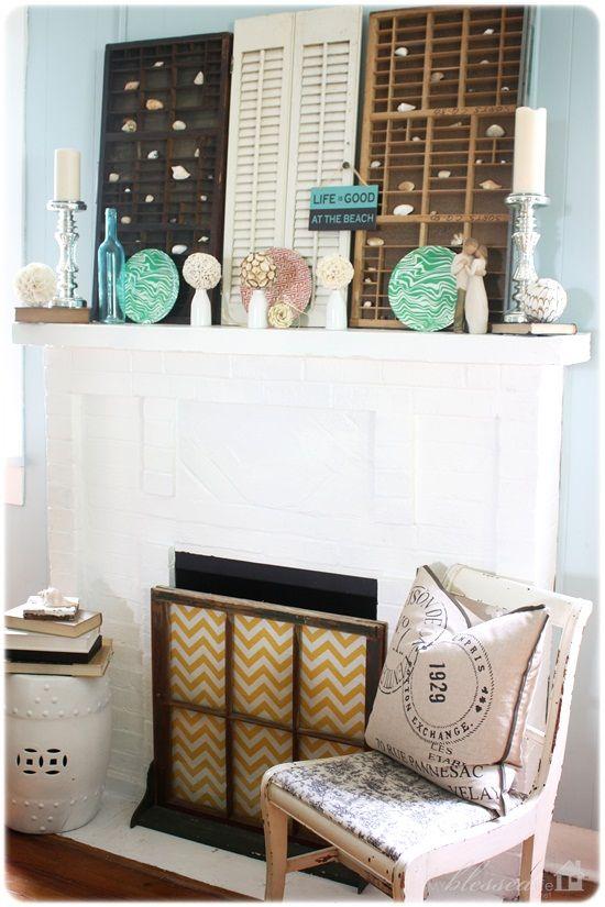 Summer MantelMantels, Fireplaces Open, Antiques Desks, Cottage Chic, Chevron Fabrics, Desks Drawers, Windows Turn Screens, Full Side, Fireplaces Screens