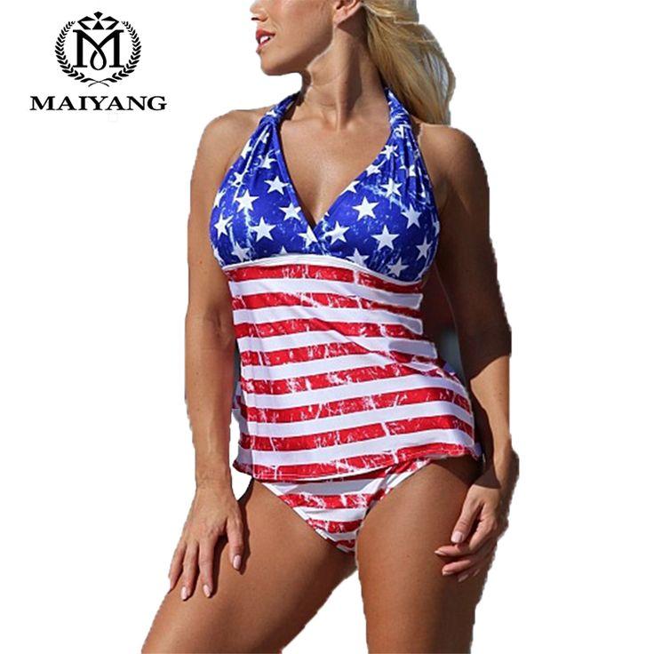 Tankini Swimsuit Two Piece Women Swimwear American Open-BackRed White Blue Patriotic Top Set Bathing Suits Bikini YZ-ZQ16598
