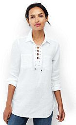 Lands' End Women's Petite Long Sleeve Lace Up Linen Shirt-Light Blue Brook Geo