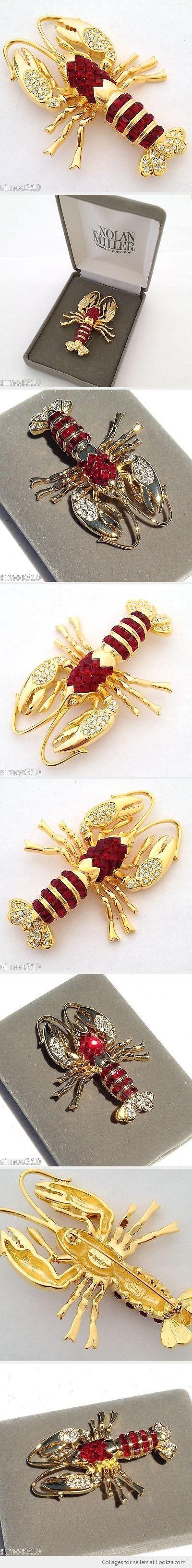 Nolan Miller Bar Harbor Lobster Pin Brooch Simulated Ruby Crystals NIB - Found on Lookza.com