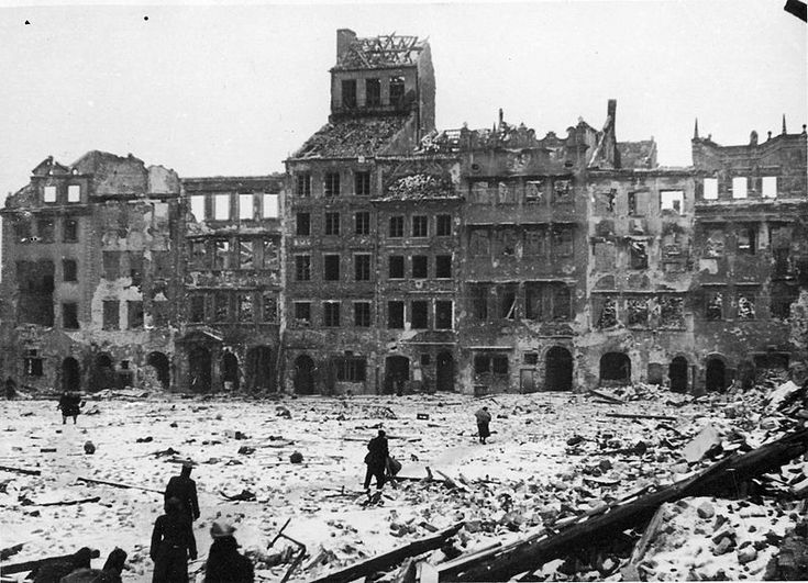 17 January 1945 -  Warsaw was liberated by the Red Army and 1st Polish Army. They found a completely devastated city. 2,000 Jewish survivors were found in underground hideouts but only 174,000 people were left in the city, less than six per cent of the prewar population. At Mlawa, 320 Poles, mostly partisans, are shot by the Germans in one of many last-minute executions around Warsaw. In the next 18 days, Soviet troops will advance a further 300 miles into German-held territory.