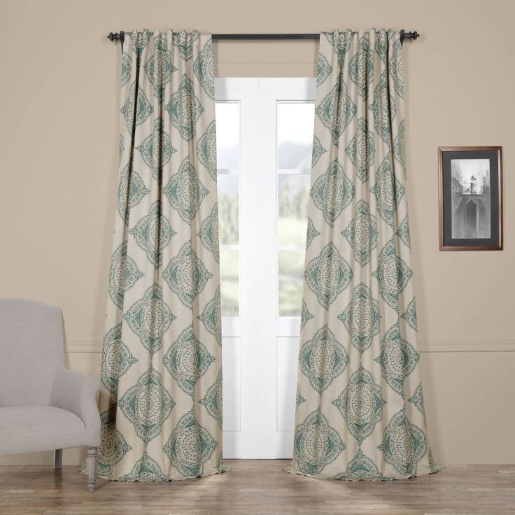 Exclusive Fabrics Moroccan-style Thermal Insulated Blackout Curtain Panel Pair (50 X 96 – henna teal (Blue))