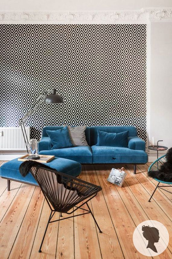 Geometric Pattern Peel and Stick Temporary Wallpaper by Livettes