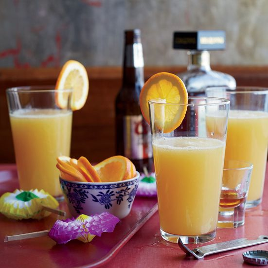 The Lunchbox: This simple cocktail combines just three ingredients; orange juice, light beer and amaretto.