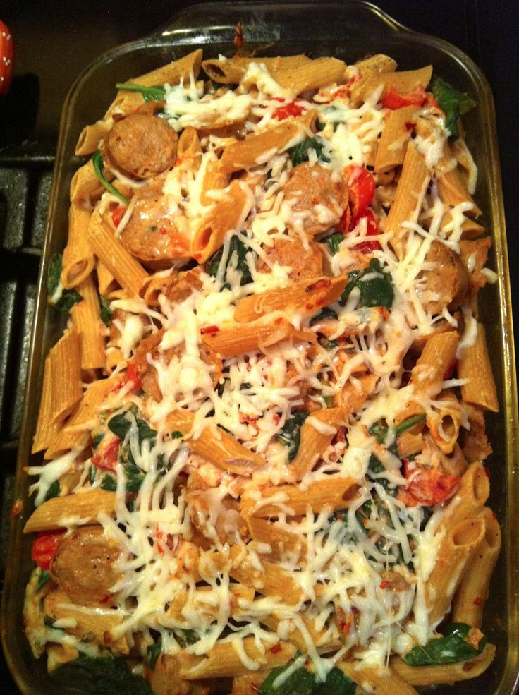 taylor made: light pasta bake with chicken sausage, mozzarella ...