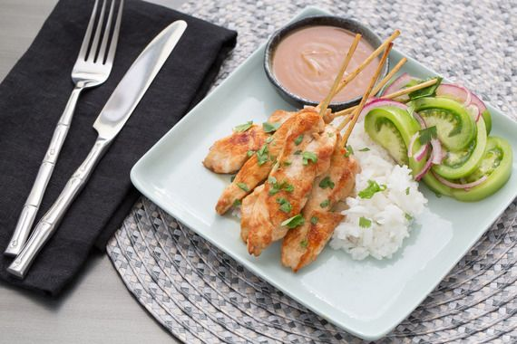 Chicken Sate with Peanut Sauce & Marinated Green Tomatoes. Visit http://www.blueapron.com/ to receive the ingredients.