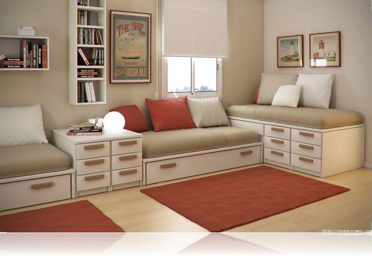 Bej Rengi ile Farklı tonlarda bir Oda