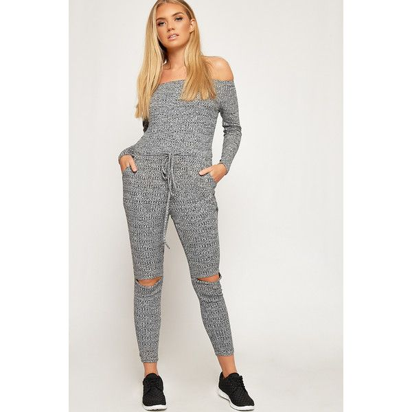 WearAll Ribbed Slit Knee Off Shoulder Lounge Jumpsuit ($39) ❤ liked on Polyvore featuring jumpsuits, grey, gray jumpsuits, long sleeve jump suit, tie belt, striped jumpsuit and grey jumpsuit