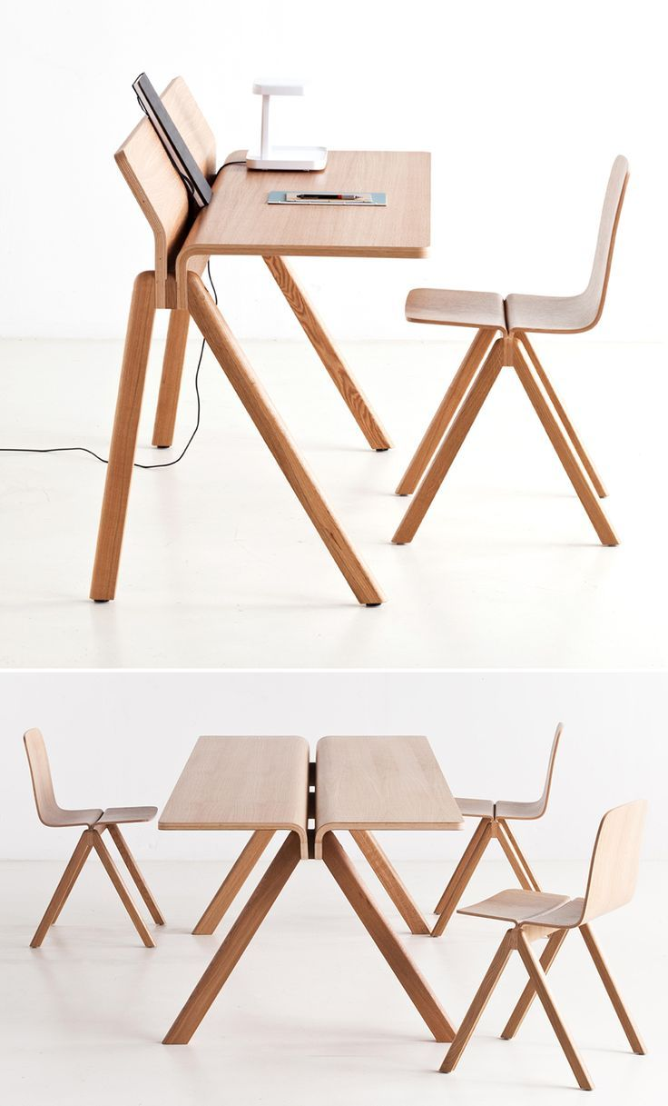You don't think of big-name designers doing furniture for schools, but Danish furniture brand Hay scored Ronan and Erwan Bouroullec to do their line for the University of Copenhagen. The resultant Copenhague line is a handsome blend of wooden desks, tables, chairs, and stools, some stackable. And in a nod...: