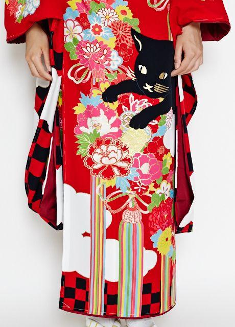 kimono daisuki // tumblr.com: taishou-kun: Furisode nyan koban ふりそでにゃん小判 red...
