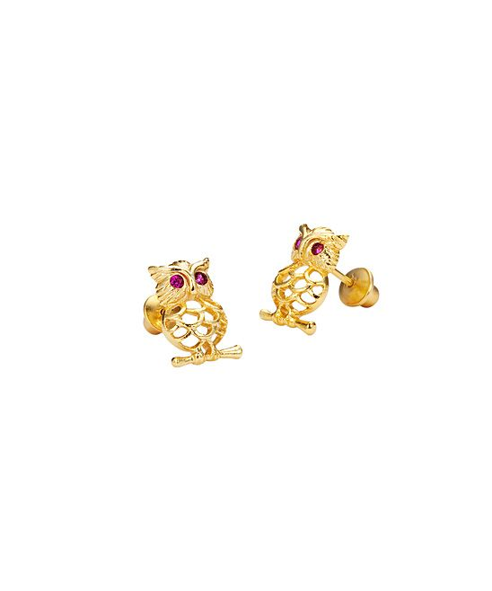 Gold Plated Owl Earrings