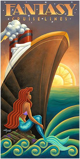 """""""Oh my God, Ariel! You're gonna get hit by that big fuckin' boat! Moooove! Wake up, you shell-bra wearing ditzfish!"""" FANTASY CRUISE LINES - DISNEY ©"""