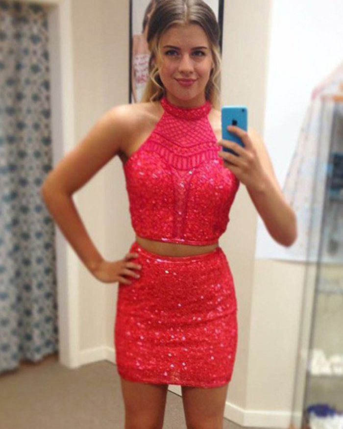 8276c273cb66 high neck beading sparkle red short prom dress, two piece sequin homecoming  dress