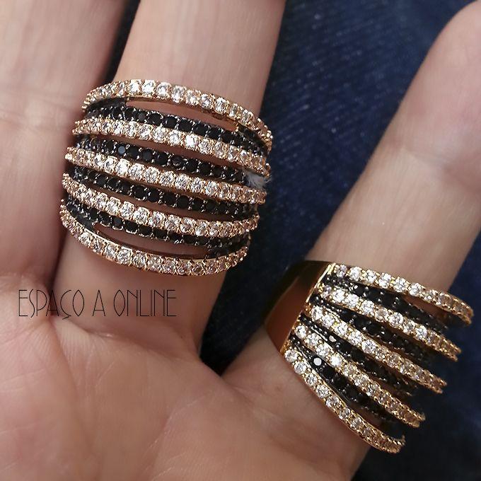Anel Cravejado Com Zirconias Negras e Incolores Aros Sobrepostos - moda fashion aneis acessorios acessories joias semijoias fashion jewelry