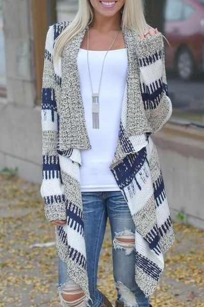Open Front Jacquard Long Cardigan BLUE AND WHITE: Sweaters   ZAFUL