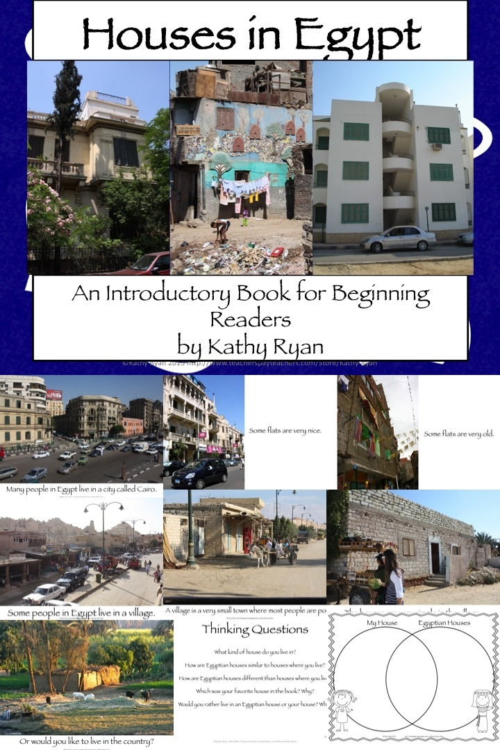 Students will love reading all about different types of houses in Egypt. This 14 page PowerPoint contains captivating photos and simple text will engage your beginning readers in learning about this interesting topic. This can be used on a SMARTBOARD as a shared reading or printed and bound in a book for guided or independent reading.    Thinking questions and a graphic organizer for students to compare the types of houses they read about in this high-interest book.