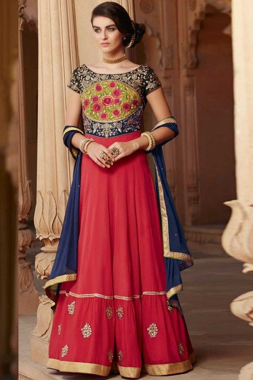 Red Georgette Anarkali Churidar Suit With Dupatta Red Georgette semi stitch anarkali churidar suit. Yoke embroidered with hand and embroidered work. Boat neck, Floor length, short sleeves kameez. Red santoon churidar. Blue chiffon dupatta with lace border with work. Product are available in 34,36,38,40 sizes.     http://www.andaazfashion.co.uk/salwar-kameez/anarkali-suits/red-georgette-anarkali-churidar-suit-with-dupatta-dmv14252.html