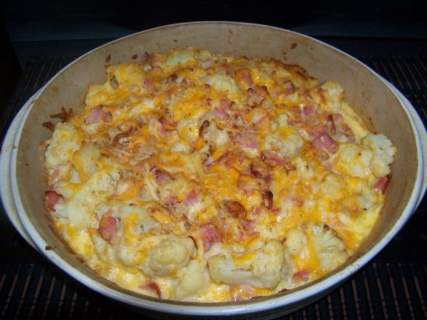 Cheesy Cauliflower Ham Casserole---I have made this twice and it's SO good! I replace the optional pork rinds with crumbled fried onions.